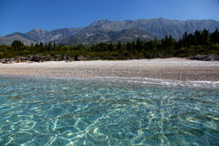 Spiaggia non trattata in Albania Fotografie Stock