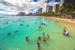 Spiaggia Oahu di Waikiki Fotografia Stock