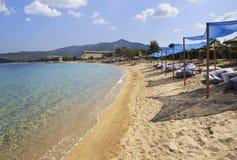 Spiaggia pagata sabbiosa di grande località di soggiorno di Oporto Carras Fotografia Stock