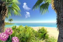 Spiaggia, palme e fiori Immagine Stock Libera da Diritti