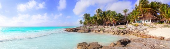Spiaggia panoramica tropicale caraibica di Tulum Messico Fotografia Stock Libera da Diritti