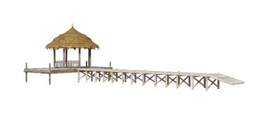 spiaggia Pavillion della rappresentazione 3D su bianco Fotografie Stock Libere da Diritti