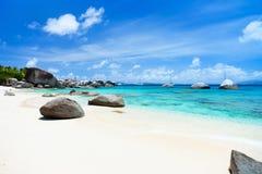 Spiaggia perfetta dell'immagine ai Caraibi Fotografie Stock Libere da Diritti