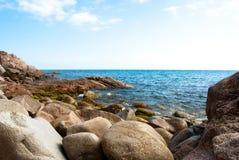 Spiaggia piena di sole in Catalogna Fotografia Stock Libera da Diritti