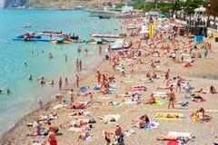 Spiaggia posteriore del mare, Crimea Fotografia Stock