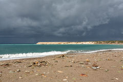 Spiaggia prima della tempesta Fotografia Stock Libera da Diritti