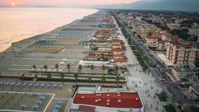 Spiaggia privata, vista aerea, Toscana Fotografie Stock