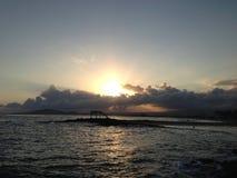 Spiaggia Puerto Villamil di tramonto Immagine Stock Libera da Diritti