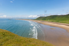 Spiaggia Rhossili di Lingua gallese Gower South Wales Regno Unito Fotografia Stock Libera da Diritti