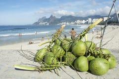 Spiaggia Rio de Janeiro Brazil di Ipanema delle noci di cocco Fotografia Stock