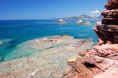 Spiaggia rocciosa nel Montenegro Fotografia Stock Libera da Diritti