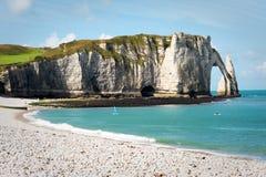 Spiaggia rocciosa in Normandia, Francia Fotografia Stock