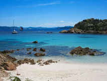 Spiaggia Rosa in Sardegna. Pink sand Beach in Sardinia Italy royalty free stock images