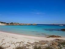 Spiaggia Rosa in Sardegna. Pink sand beach in Sardinia Italy stock image