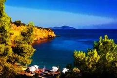Spiaggia rossa dei alonissos, Grecia - effetto del castello della pittura Immagine Stock