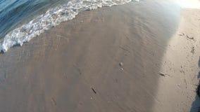 Spiaggia sabbiosa con le onde, vista superiore archivi video