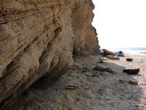 Spiaggia sabbiosa con una tenda Fotografia Stock Libera da Diritti
