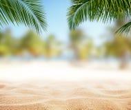 Spiaggia sabbiosa di estate con l'oceano della sfuocatura su fondo Immagine Stock