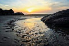 Spiaggia sabbiosa di mattina Fotografia Stock