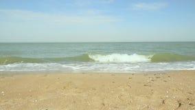 Spiaggia sabbiosa e una piccola eccitazione sull'acqua archivi video