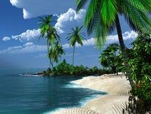 Spiaggia sabbiosa nei tropici Immagine Stock Libera da Diritti