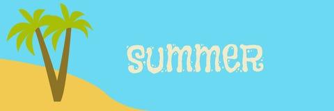 Spiaggia sabbiosa, palme, oceano o mare e sabbia, illustrazione panoramica, fondo orizzontale, spazio libero per testo illustrazione di stock