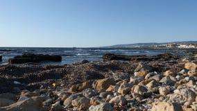 Spiaggia sabbiosa rocciosa inquinante con immondizia, plastica e rifiuti Inquinamento dell'ambiente video d archivio