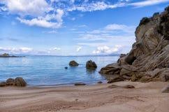 Spiaggia sabbiosa in Sithonia, Chalkidiki, Grecia Fotografie Stock