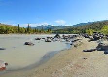Spiaggia sabbiosa sul fiume Katun, montagne Siberia, Russia di Altai Fotografia Stock