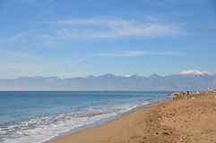 Spiaggia sabbiosa vuota Immagine Stock