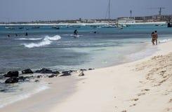 Spiaggia a sal, Capo Verde Fotografie Stock Libere da Diritti