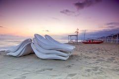 Spiaggia scenica al tramonto Fotografie Stock Libere da Diritti