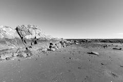 Spiaggia scenica, Long Island Sound in bianco e nero Immagini Stock