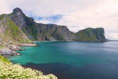 Spiaggia scenica sulle isole di Lofoten immagine stock libera da diritti