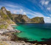 Spiaggia scenica sulle isole di Lofoten fotografia stock