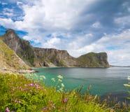Spiaggia scenica sulle isole di Lofoten Fotografie Stock Libere da Diritti