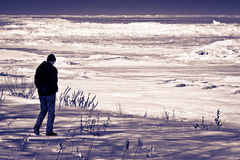 Spiaggia scura di inverno Fotografie Stock