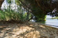 Spiaggia selvaggia nel Nidri, isola di Leucade Immagini Stock Libere da Diritti