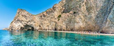 Spiaggia selvaggia Paradise costa sull'isola di Corfù, mare ionico, Grecia fotografia stock