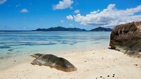 Spiaggia selvaggia, Seychelles Immagini Stock Libere da Diritti