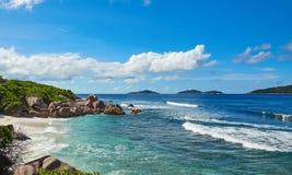 Spiaggia selvaggia, Seychelles Immagini Stock