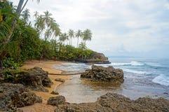 Spiaggia selvaggia tropicale con il cielo nuvoloso Immagini Stock Libere da Diritti
