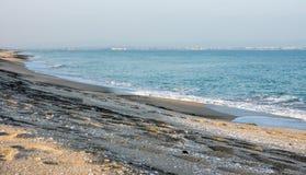 Spiaggia serena di inverno in Pomorie, Bulgaria Immagine Stock Libera da Diritti