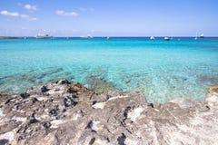 Spiaggia Ses Illetas, Formentera, Spagna Fotografia Stock Libera da Diritti