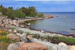 Spiaggia sola dal Mar Baltico Immagine Stock