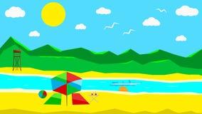 Spiaggia soleggiata piana illustrazione di stock