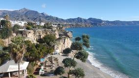 Spiaggia in Spagna, Nerja Fotografie Stock