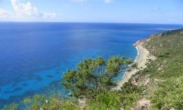 Spiaggia stupefacente al mar dei Caraibi Fotografia Stock Libera da Diritti