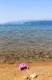 Spiaggia su un lago Prespa, Macedonia Fotografie Stock Libere da Diritti