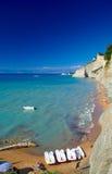Spiaggia sull'isola di Corfù fotografia stock libera da diritti